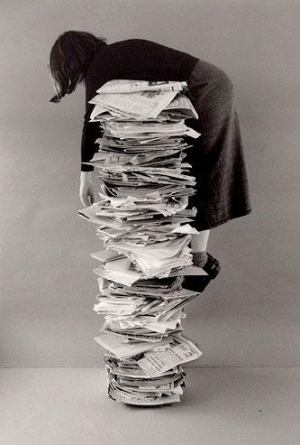 Kim Abeles, 1995 Self Portrait with Files