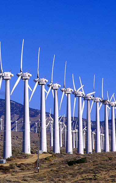 the california desert with its typically windy weather is an ideal location for wind driven power plants like wind farms